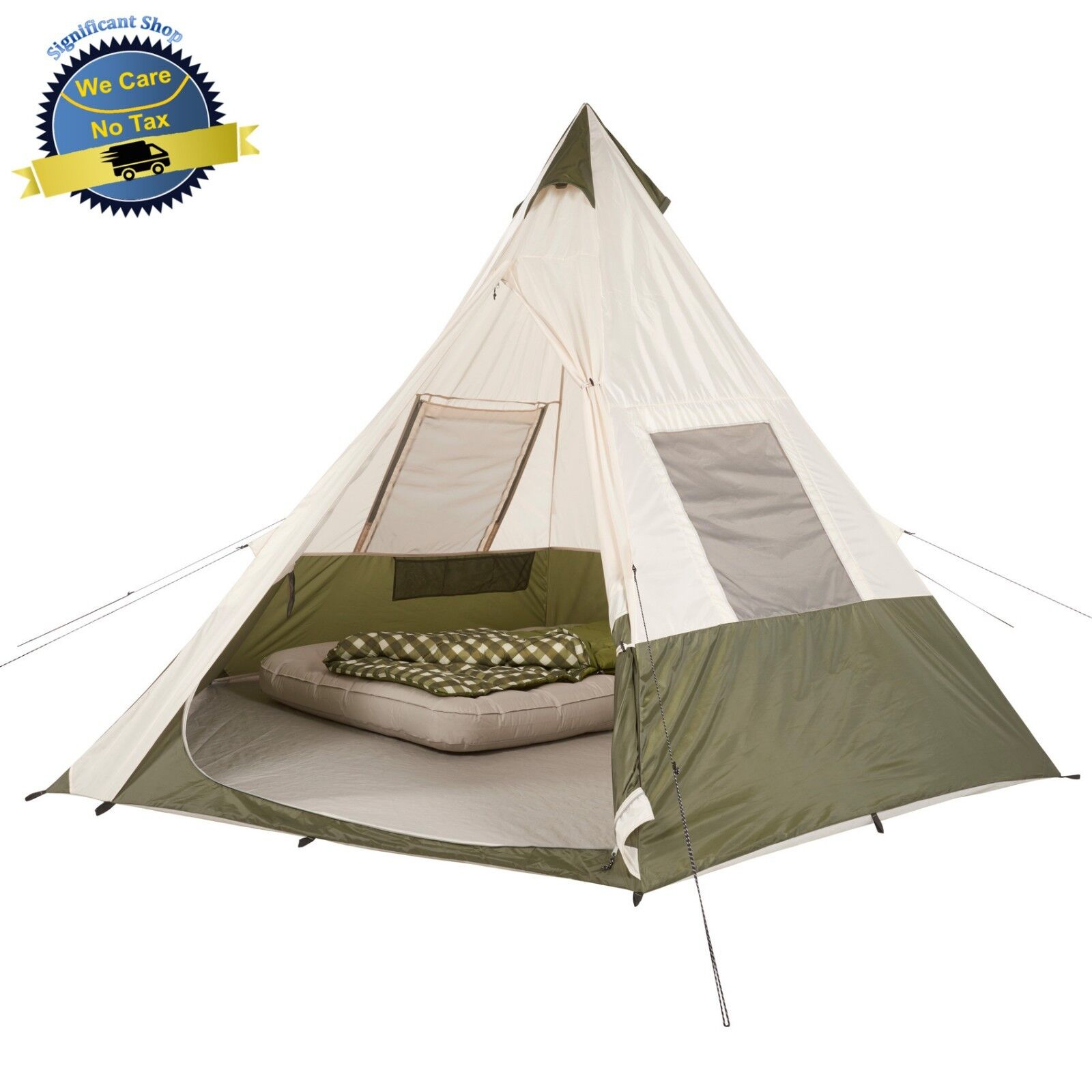 7 Person 1 Room Family Tent Cabin Doom Camping Outdoor Waterproof Family Teepee