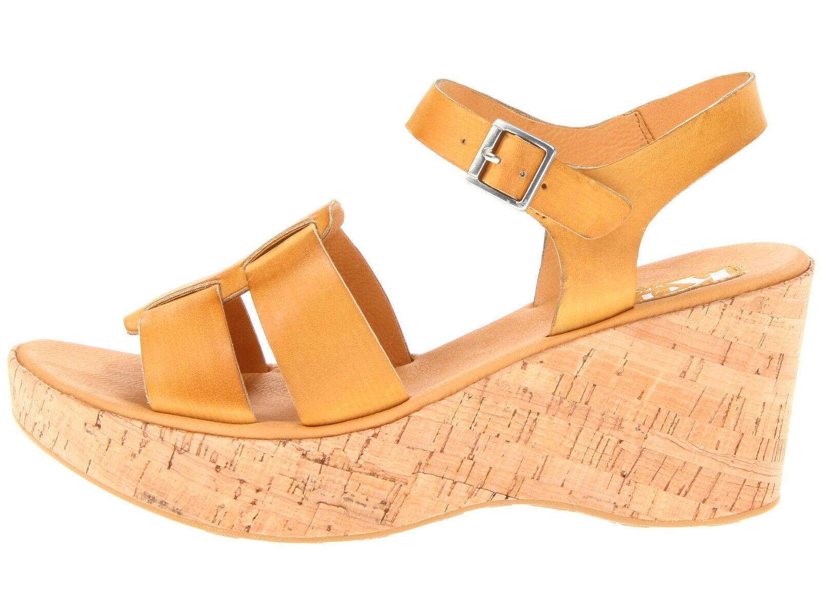 $99 NIB Korks by Kork-Ease Brie Dark Yellow Leather Cork Wedge Comfy Shoe sz10MW