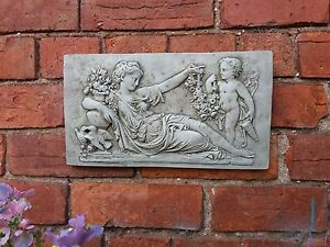 Image Is Loading STONE GARDEN PAIR OF ROMAN LADY CHERUB WALL