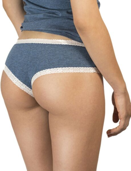 Uniconf Damen Panty 3er Pack blau grau creme Stretch Baumwolle Slip Hipster