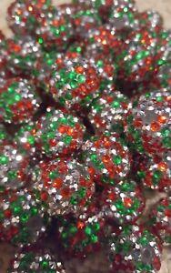 20mm Christmas Green Rhinestone Bubblegum Beads 20 Gumball Chunky