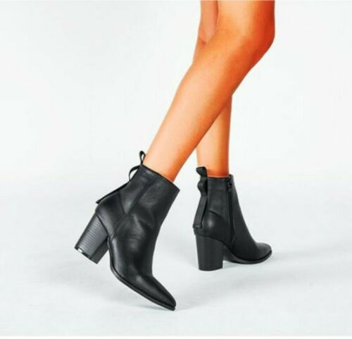 Details about  /Women/'s Western Chunky Heels Ankle Boots Pointy Toe Chelsea Casual Shoes 36-43