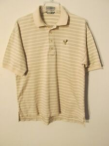 S7556 Descente Men S Medium Beige Striped Duck Logo 4 Button Short