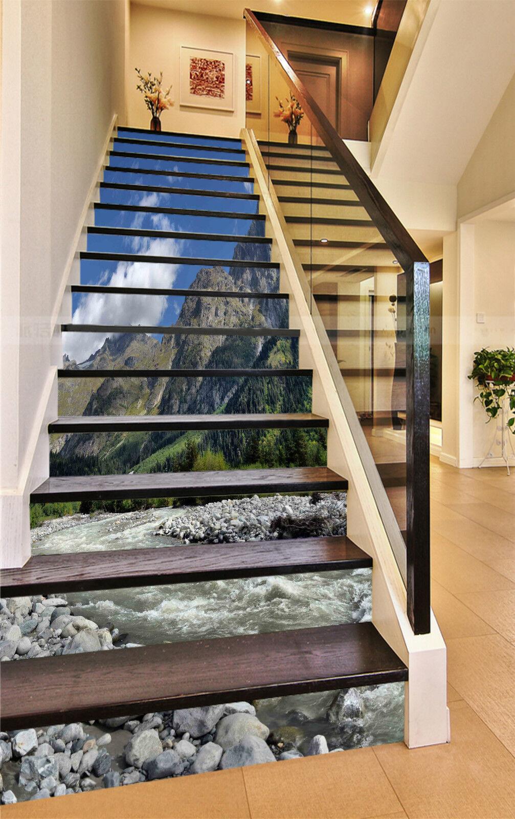 3D Bach Berg 835 Stair Risers Dekoration Fototapete Vinyl Aufkleber Tapete DE