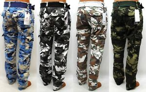 Men's IMPERIOUS cargo pants blue / city / white / olive camo ...