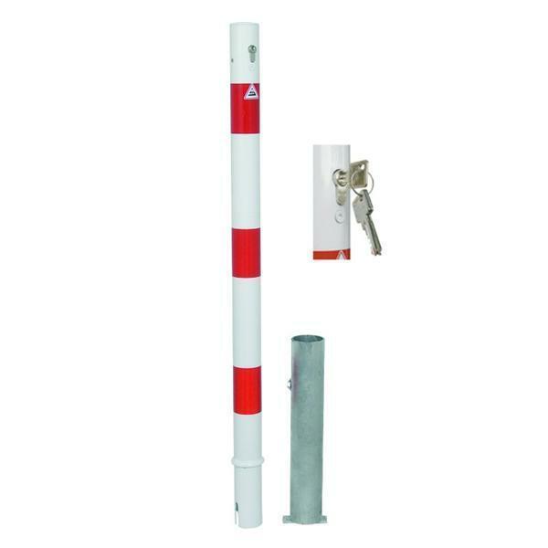 Absperrpfosten aus Stahlrohr Ø 60 mm, herausnehmbar, mit Profilzylinderschloss
