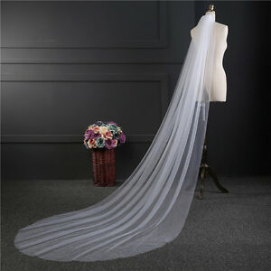 1-Layer-Soft-Bride-3M-Long-Veil-Church-Cathedral-Wedding-Bridal-With-Comb-New