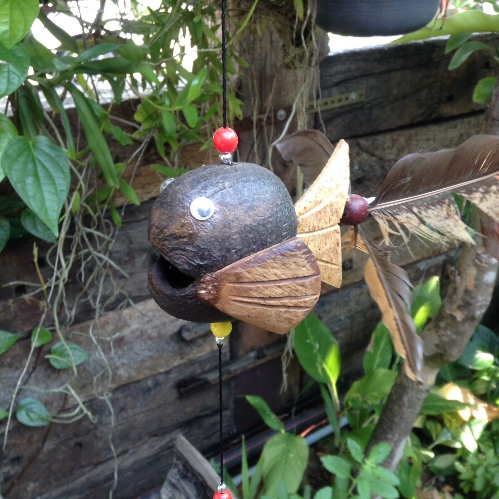 Fish Hanging wind spinners patio wooden animal statue wind chime home decor