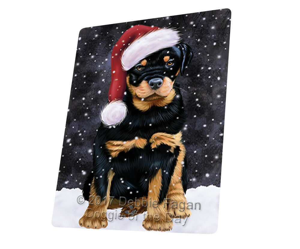 Let it Snow Christmas Holiday Rottwielers Hund Woven Throw Sherpa Blanket T118