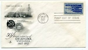 1957 50th Anniversary Oklahoma City Statehood First Day Issue State Capitol Nasa