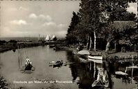 Steinhude am Meer s/w AK 1963 Partie an der Promenade Segelboote Tretboote Bäume