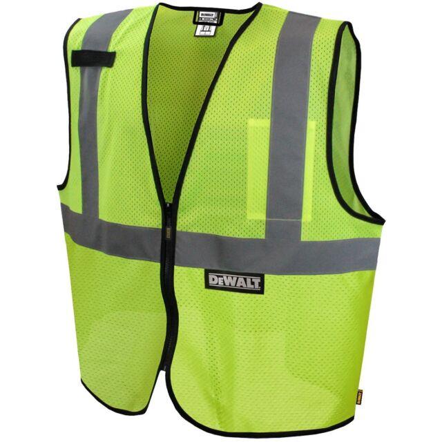 DeWALT Class 2 Reflective Mesh Safety Vest, Yellow/Lime