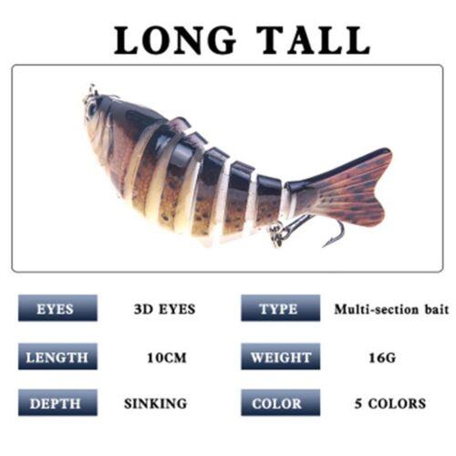 New 7 Segment Fishing Lure Swimbait Crank Baits Hard Baits Slow Hooks Tackle
