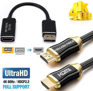 High Speed DP to HDMI Cable 4K DisplayPort to HDMI Male Cable V2.0 Gold 10FT //3M