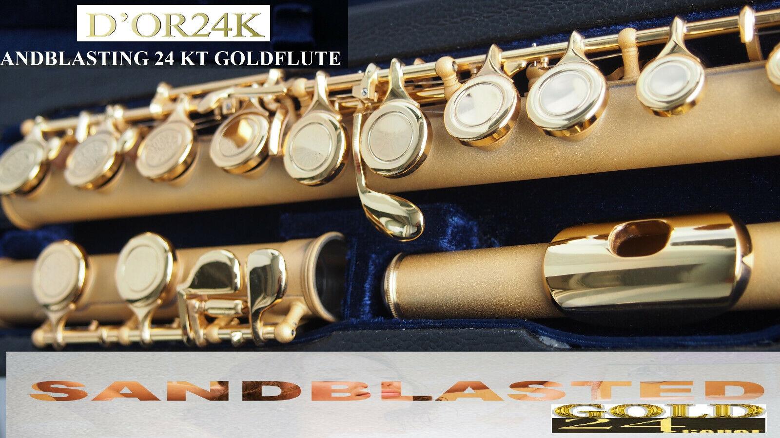 Flute Gold sandbla Querflöte  24 Kt 999  Fingold sandgestrahlt  Flauto de Or