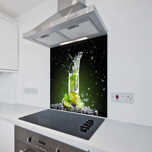 Toughened Heat Resistant Printed Kitchen Glass Splashback Lime /& Ice Design