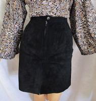 Marsh Landing Black Suede Leather Straight Lined Skirt 6