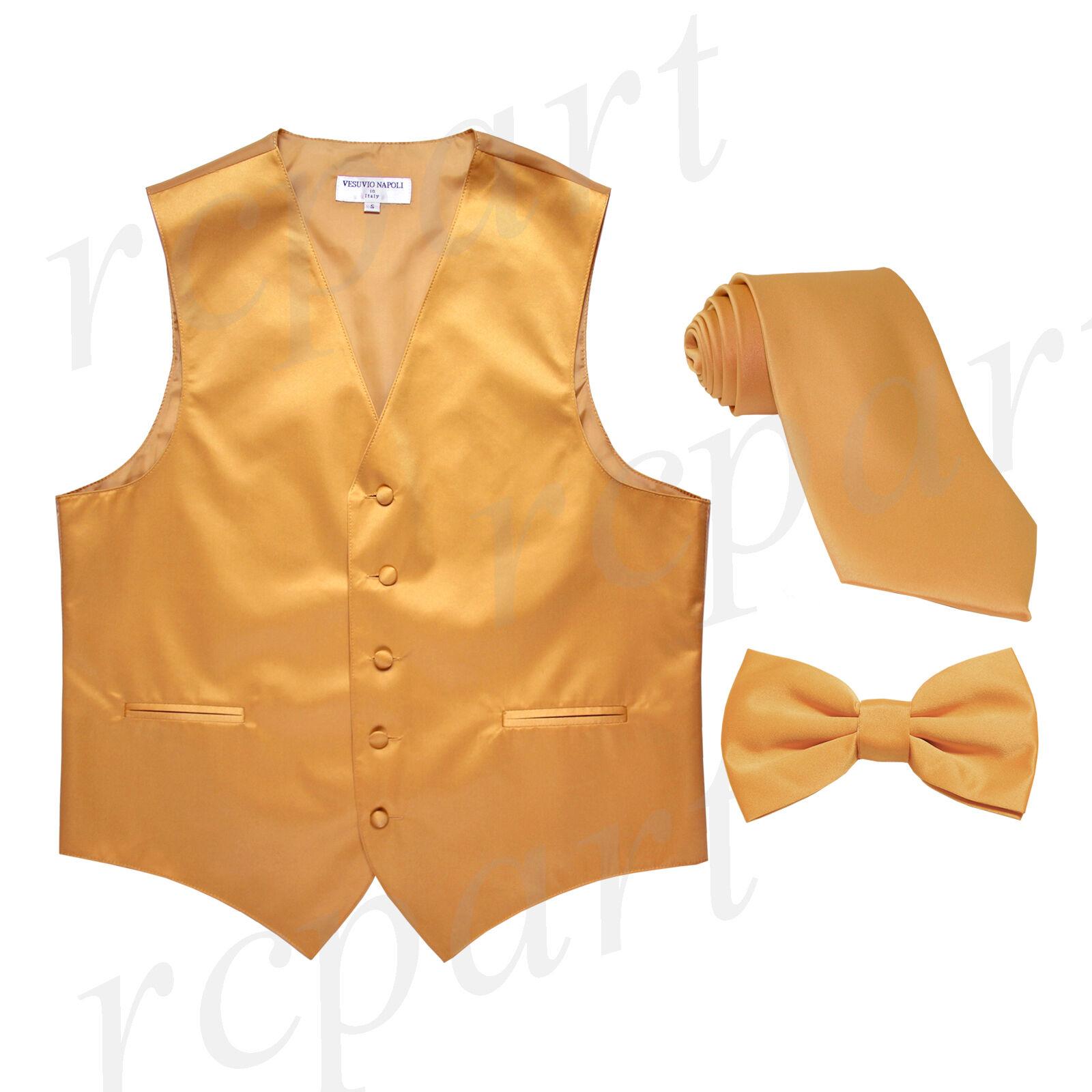 New Men's gold formal vest Tuxedo Waistcoat_necktie & bowtie set wedding