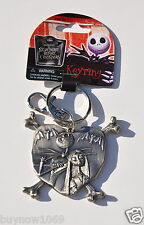 DISNEY THE NIGHTMARE BEFORE CHRISTMAS JACK AND SALLY KEYCHAIN PEWTER KEY RING