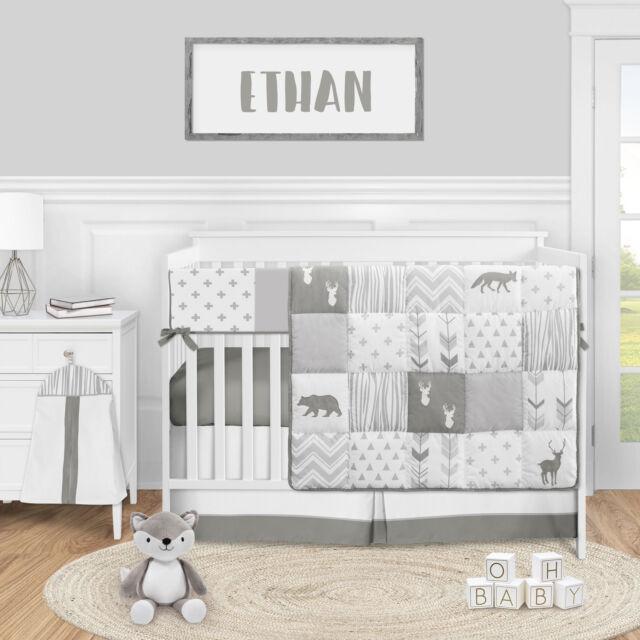 Baby Bedding Sets Boy Crib White Grey, Woodsy Crib Bedding
