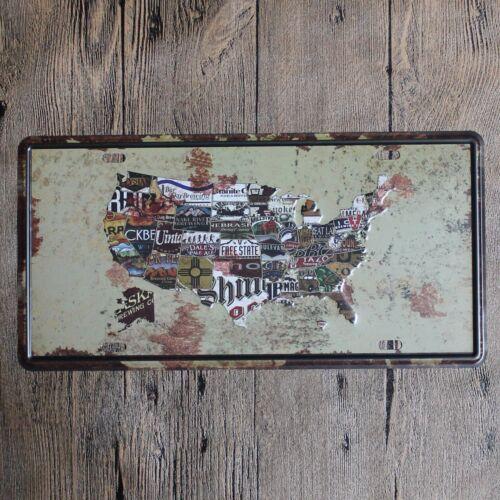 Metal Tin car plate america map Decor Bar Pub Home Vintage Retro Poster Cafe
