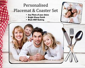 Personalised PHOTO Placemat & Coaster Set MDF Glossy Wood - Your Picture / Text