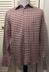 Ted-Baker-London-Men-039-s-Dress-Shirt-French-Cuff-Pink-Gray-Size-4-Large-Checkered