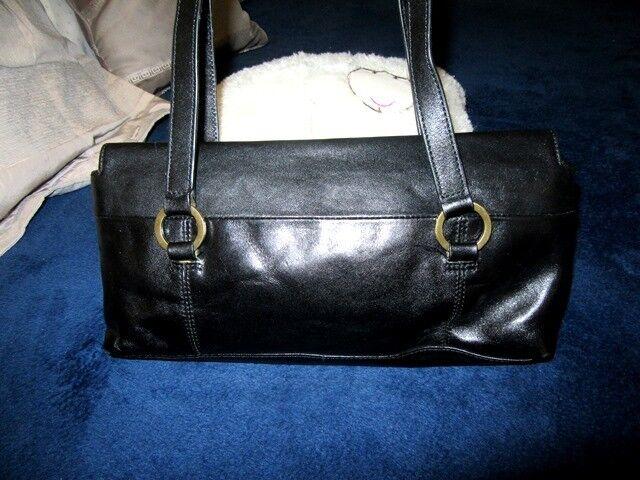 Vintage Cellini black cow leather shoulder hand tote bag. VGU cond.
