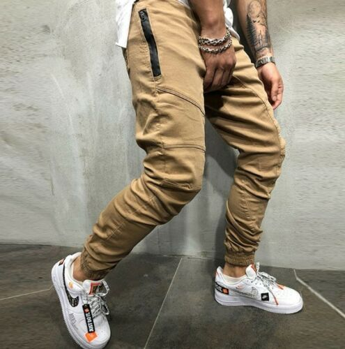 Mens Autumn Winter Overalls fitness solid color loose multi-pocket overalls pant
