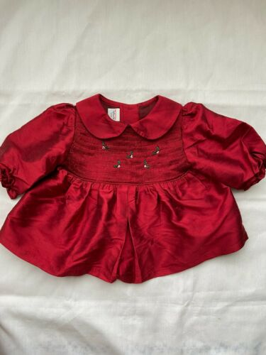 Vintage Red Silk Baby Girl's Size 6 month Smocked