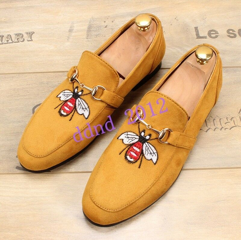 Uomo New Suede Pelle Slip On Embroidery Flat Casual Driving Loafers Shoes
