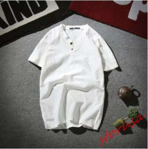 Mens Chinese Style V Neck Loose Short Sleeve Cotton Linen T-shirts Casual Tops