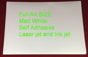 100 SHEETS A4 Matt White Self Adhesive Sticker Paper Ink and Laser Jet