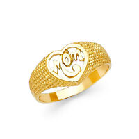 Mom Ring Mother's Day Gift Love Mother's Ring 14k Solid Yellow Gold