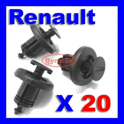 RENAULT Garniture Pare-chocs fixation clips CLIO LAGUNA MEGANE ESPACE poussoir en plastique x 20