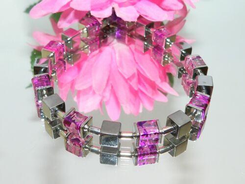 Armband Würfel Cube Hämatit silber Glas marmoriert lila pink Modeschmuck  068L