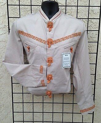 Mexican Western Shirt w//Leather Stiching Camisa Charra con Greca de Piel