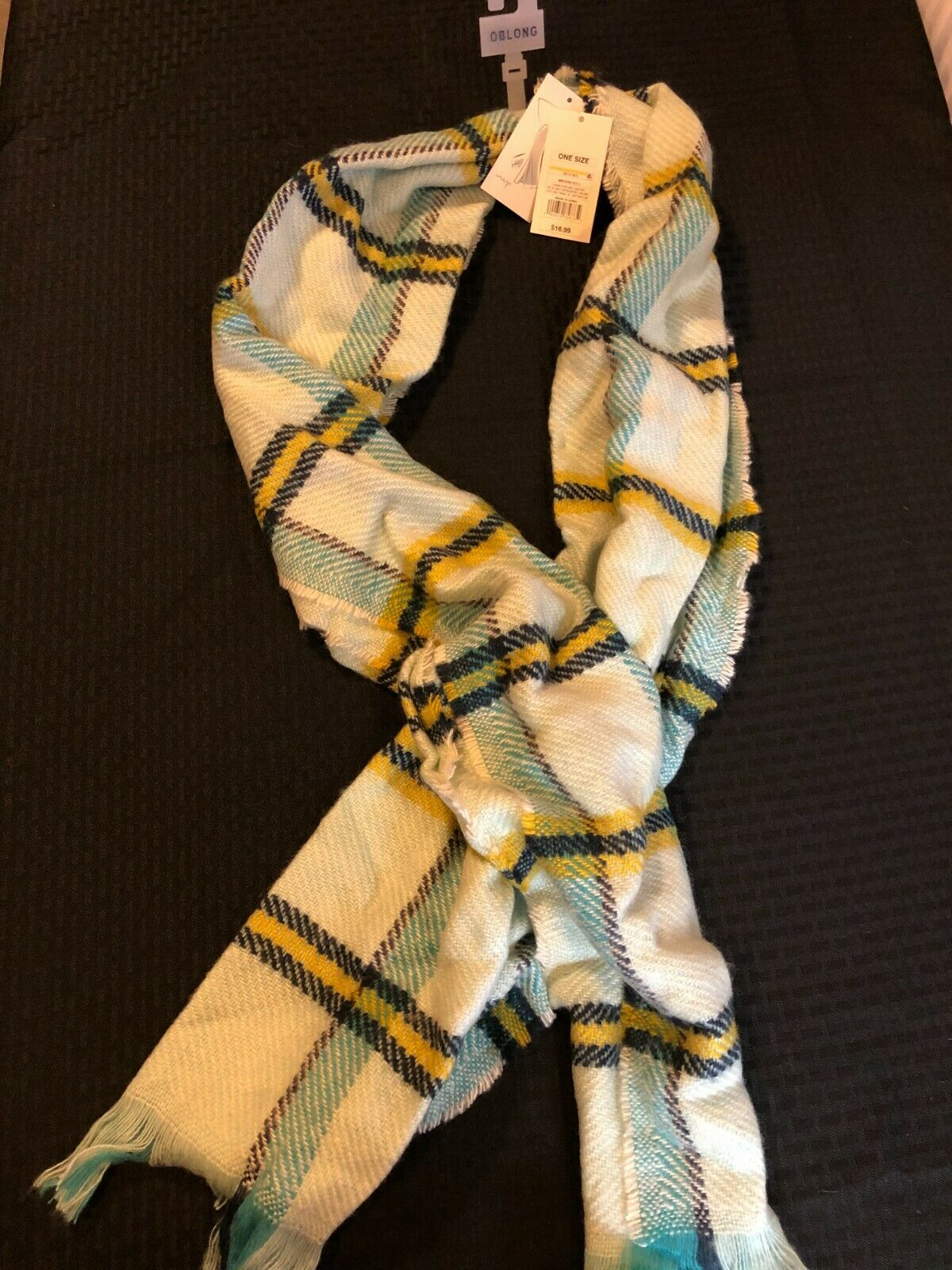 A New Day Oblong Teal Flannel Scarf NWT