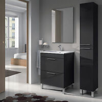 Baltic Bathroom Vanity Base Unit With Mirror In Anthracite/dark Grey Veneer