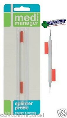 BEST PRICE! MEDI MANAGER SPLINTER PROBE STRAIGHT AND HOOKED ENDS SEALED ITEM