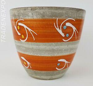 Vintage-1960-70s-WEST-GERMAN-POTTERY-Orange-Planter-Flower-Pot-Fat-Lava-Era