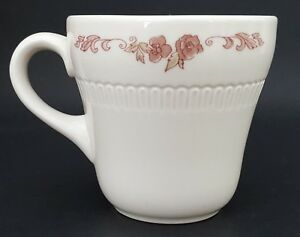 Syracuse China Restaurant Diner Ware Coffee Cup Ivory w/Rose Pink Floral Detail