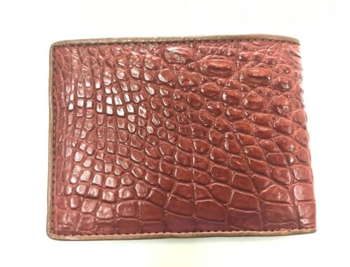 Genuine Crocodile Alligator Skin Leather Men/'s Bifold Wallet Red Brown