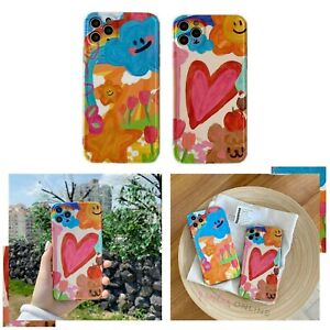 Soft Cute Slim Coloured Painting Case Cover For iPhone 11 12 MINI PRO MAX 8 X XR