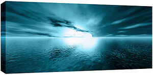 Image Is Loading LARGE TEAL SUNSET SEA BEACH BOX CANVAS SEASCAPE