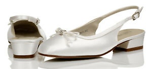 White Satin Bridesmaids Bridal Communion Shoes 12,13,1,2,3,4,5,6,7 ISABELLA H//H