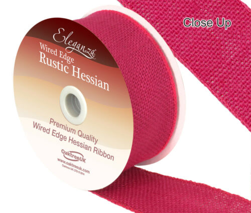Rustic Hessian Wired Ribbon By Eleganza 50mm x 9.1m Available In 12 Colours