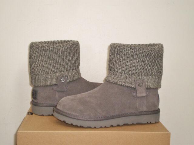 1470821d755 UGG Big Kids Saela Rib Knit Cuff Boot 6 Youth US Seal Grey Suede NWB