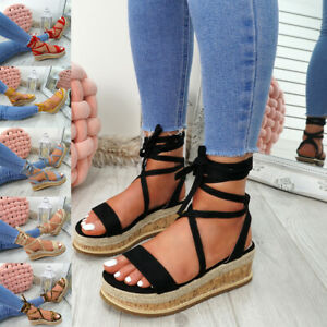 WOMENS-LADIES-ANKLE-WRAP-ESPADRILLE-FLATFORM-SANDALS-HEEL-SUMMER-SHOES-SIZE