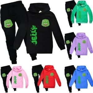 Jelly Hooded Jumper Suit,Tracksuits Long Sleeve Top and Pants Set,YouTube Gamer Jelly Hoodies for Kids,Boys and Girls